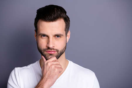 Close up photo amazing he him his macho perfect appearance look bath mirror shower groomed neat stubble mustache test quality new balm gel wondered wear casual white t-shirt isolated grey background Reklamní fotografie