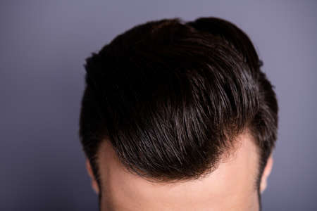 Cropped close up top above high angle photo amazing he him his macho showing neat groomed head haircut look mirror bath black ideal perfect color wear casual white t-shirt isolated grey background
