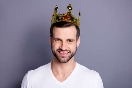Close up photo of charming lovely youth have crown celebrate party feel content satisfied dressed millennial clothing isolated grey background