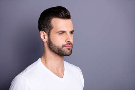 Close up side profile photo amazing he him his macho perfect ideal appearance neat bristle easy-going person calm not talk tell speak say smile wear casual white t-shirt isolated grey background