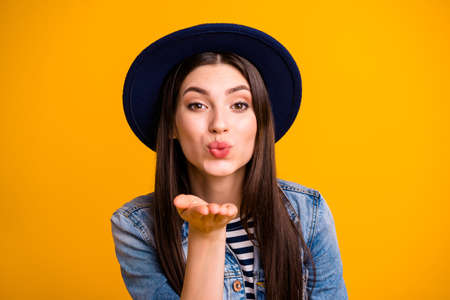 Close-up portrait of her she nice-looking sweet attractive lovely lovable fascinating feminine straight-haired lady sending tender kiss isolated over bright vivid shine yellow background