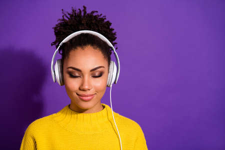 Close-up portrait of her she nice attractive lovely dreamy glamorous cheery peaceful calm confident wavy-haired lady listening new hit closed eyes isolated over bright vivid shine violet background