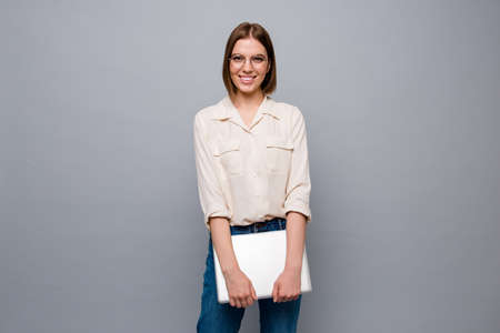 Close up photo beautiful pretty she her business lady hands arms notebook write novel author attend visit beginners courses diligent student wear specs casual white shirt isolated grey background