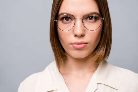 Cropped close up photo beautiful attractive she her business lady chief attorney lawyer clerk broker listen attentively partners colleagues wear specs casual white shirt isolated grey background Фото со стока