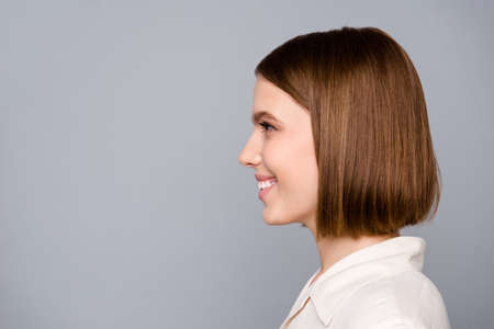 Close up side profile photo beautiful amazing she her lady look interested curious listen empty space colleagues gathering wondered learn news wear casual white shirt isolated grey background 免版税图像 - 129622182