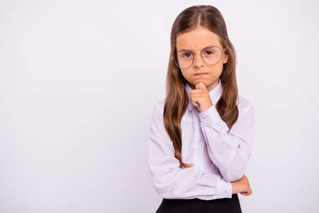 Close-up portrait of her she nice attractive lovely focused concentrated intellectual pre-teen girl thinking science decision clue strategy question isolated over light white grey background