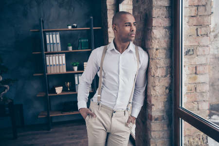 Portrait of his he nice attractive stylish trendy classy confident content guy shark expert specialist executive top lawyer attorney real estate at industrial loft interior work place station Stock Photo