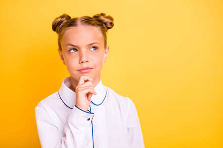 Close-up portrait of her she nice attractive lovely focused pre-teen girl wearing white shirt ask question why solving problem isolated on bright vivid shine yellow background Stok Fotoğraf