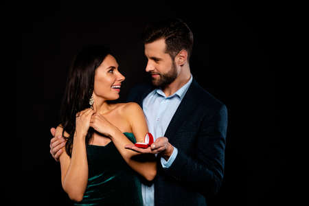 Portrait of his he her she nice-looking gorgeous fascinating attractive lovely luxury cheerful cheery two person soul mate get receive propose best occasion event isolated over black background