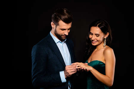 Portrait of his he her she nice-looking gorgeous perfect attractive luxury cheerful two person soul mate get receive expensive propose best event dream from rich guy isolated over black background