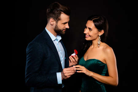 Portrait of his he her she nice-looking chic gorgeous adorable perfect attractive luxury cheerful two person soul mate get receive propose best event dream isolated over black background