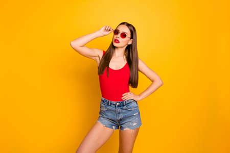 Close up photo of amazing lady colorful appearance luxury vogue wear specs jeans denim shorts red body tank-top