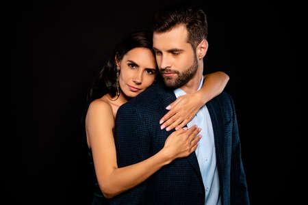 Close up photo pair classy vogue she her chic mistress he him his hold only my mine guy hands arms chest piggy back position wear blue plaid costume jacket green dress isolated black background