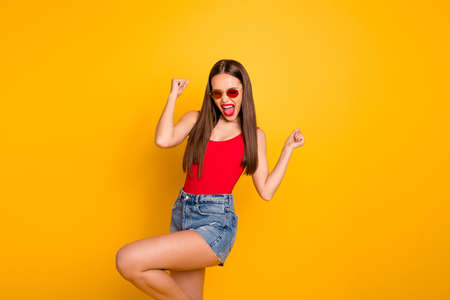 Photo of beautiful lady prefect day weekend vacation luxury vogue screaming ecstatic wear specs jeans denim shorts red body tank-top