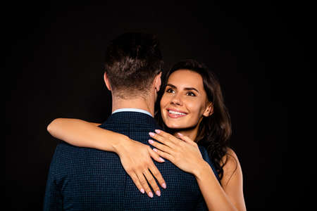 Close up back rear behind view photo beautiful she her classy lady wife he him his husband mrs mr married spouse slow dance hold shoulders hands wear costume jacket dress isolated black background