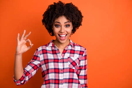 Portrait of her she nice attractive lovely cheerful cheery glad positive optimistic wavy-haired lady in checked shirt showing ok-sign isolated on bright vivid shine orange background Stock fotó