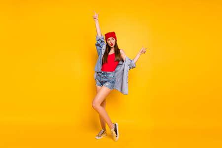 Full body photo of amazing bright lady dancing modern moves street style eyes closed wear red body tank-top denim shorts blazer footwear