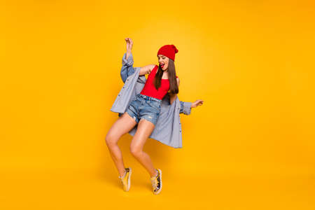Full length photo of funny amazing lady dancing modern moves stand on toes street style wear red body tank-top denim shorts blazer Stock Photo