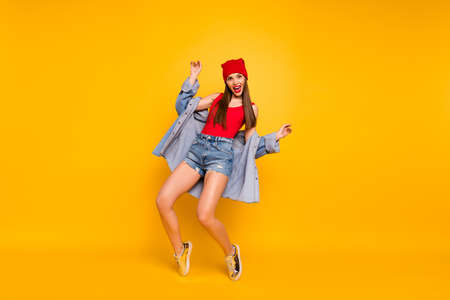 FUll body photo of funny playful amazing lady beaming smile dancing modern moves stand on toes wear red body tank-top denim shorts blazer