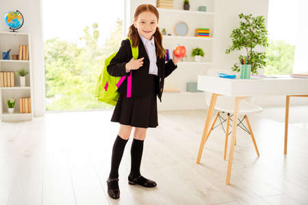 Full length body size view photo lovely charming cute kid hold hand snack ready get knowledge black jacket she her skirt boots shirt blouse standing big light class room foxy ginger haircut hairstyle