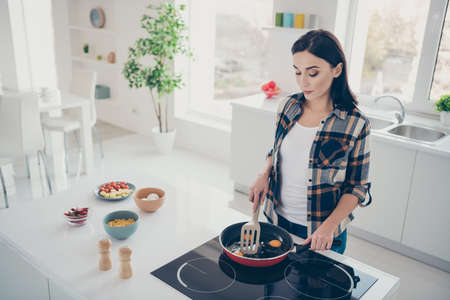 Top high angle view photo of concentrated beautiful youth gourmet housewife have routine want snack checkered shirt stylish trendy stand white modern desk apartment Фото со стока