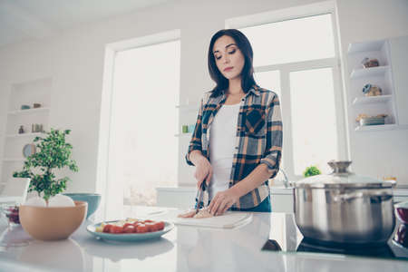 Low angle view photo of beautiful lady want feast stay have bowl relax tomato vegetable eggs saucepan focused trendy stylish clothing shirt desk cooker apartment Stock Photo