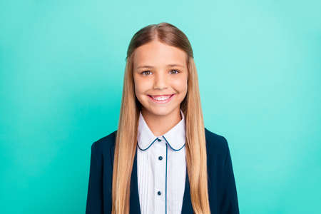 Close up photo beautiful amazing she her little lady pretty hairdress like studying school weekend vacation mood wear formalwear shirt blazer school form isolated bright teal turquoise background Фото со стока