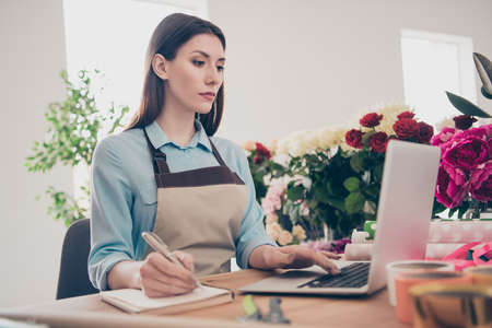 Portrait of concentrated lady use user modern technology look search have conversation clients make offers sales discounts smm florist wear blue shirt trendy stylish green assortment Zdjęcie Seryjne