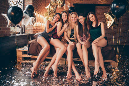 Full length body size photo of five nice charming lovely romantic slim fit slender students ladies having entertainment 8-march day special vacation