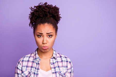 Close up photo of disappointed lady youth frustrated have offense react weep information wear modern checkered clothing isolated on bright background