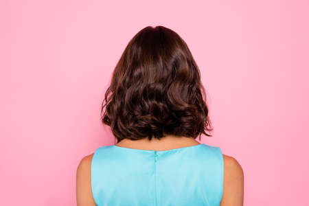 Close up back rear behind photo beautiful she her lady turn around not speak tell talk to you sign symbol amazing hair styling party chill look wear colorful blue dress isolated pink bright background