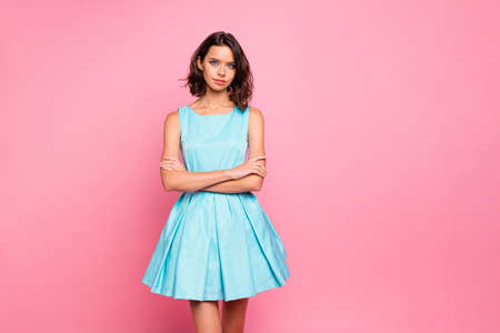 Close up photo amazing beautiful she her lady attractive pretty appearance plump allure tempting lips arms crossed wear cute shiny colorful blue dress isolated pink rose bright vivid background