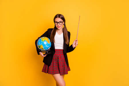 Portrait nice lady expert hold hand campus graduate eyewear eyeglasses pigtail ponytail red skirt earth planet subject country continent black jacket checked plaid tails isolated yellow background
