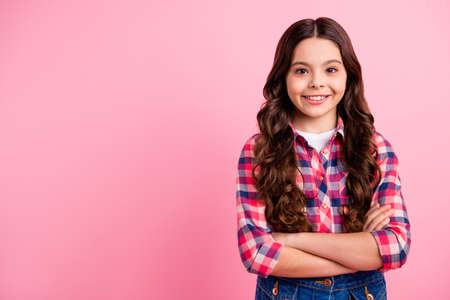 Potrait of cute attractive elegant sweet lady kid school people person feel positive satisfied trued leader leadership dressed checkered shirt fun funky denim jeans pastel background Banque d'images