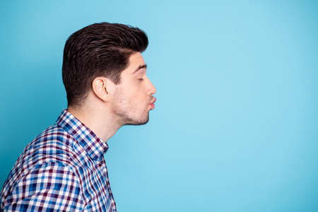 Romantic present gift surprise concept. Close up photo portrait of handsome nice positive cheerful romance he student wants to kiss you isolated pastel background copy space