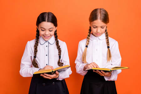 Portrait of two person nice attractive lovely charming cute cheerful focused concentrated pre-teen girls preparing test dictation isolated over bright vivid shine orange background Stock Photo