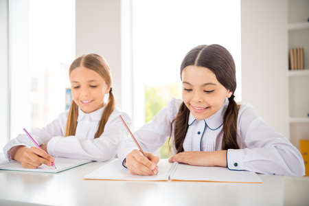 Portrait of two person nice-looking attractive lovely sweet charming cute intellectual cheerful girls learner academic subject dictation native language in light white interior class room indoors