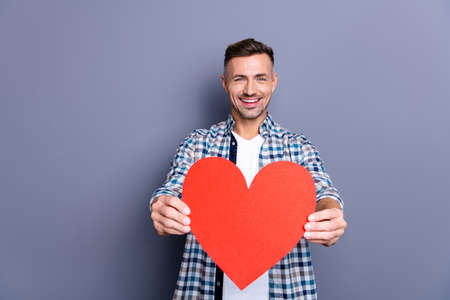 Close up photo attractive he him his guy arms hands giving large red paper heart congrats girlfriend wife postcard invitation romance date wear casual plaid checkered shirt isolated grey background