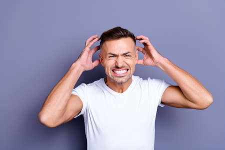 Close up photo amazing he him his middle age macho hands arms raised up air full anger outraged rage grin teeth complaining new hairdresser styling wear casual white t-shirt isolated grey background Banco de Imagens