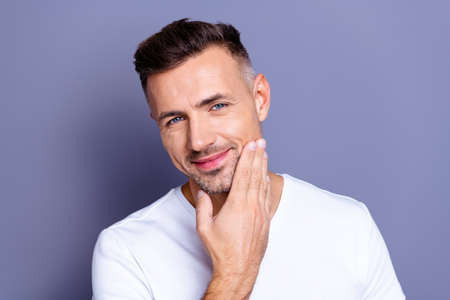 Close up photo amazing he him his middle age macho perfect ideal appearance look bath mirror show groomed neat stubble mustache test quality new balm wear casual white t-shirt isolated grey background Banco de Imagens