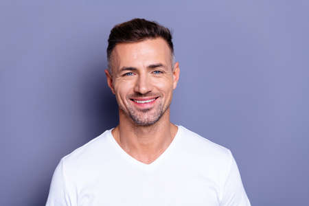 Close up photo amazing he him his middle age macho perfect ideal appearance easy-going reliable person look calm show white teeth bristle wear casual white t-shirt isolated grey background