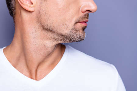 Cropped close up side profile photo amazing he him his middle age macho perfect ideal appearance look show groomed neat stubble mustache wear casual white t-shirt isolated grey background