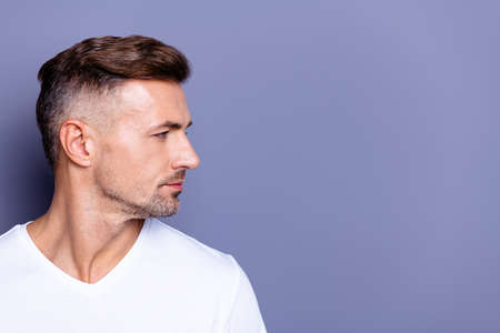 Close up side profile photo amazing he him his middle age macho perfect ideal appearance easy-going reliable person look calm not talk tell speak say wear casual white t-shirt isolated grey background