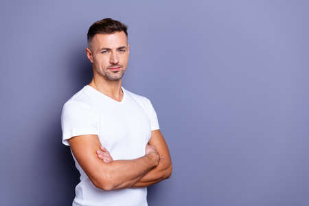 Close up side profile photo amazing he him his middle age macho chief boss perfect ideal appearance easy-going reliable person look calm arms crossed wear casual white t-shirt isolated grey background