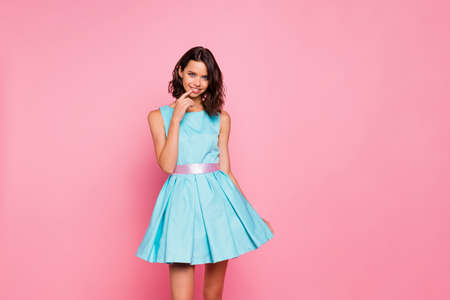 Close up photo amazing beautiful she her lady graduation college university school ready chill attractive pretty appearance wear cute shiny colorful blue dress isolated pink bright vivid background Stock Photo