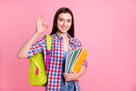 Portrait of cute confident classy nice teen teenager high school person recommend learning choice advise decision feedback great good excellent stylish trendy checked shirt isolated pink background