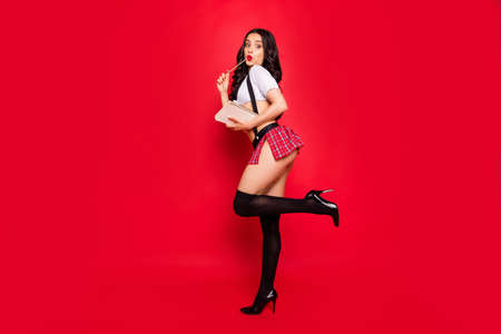 Profile side full length body size view of nice stunning attractive gorgeous lovely coquettish slim fit thin wavy-haired lady holding homework copybook isolated over bright vivid shine red background