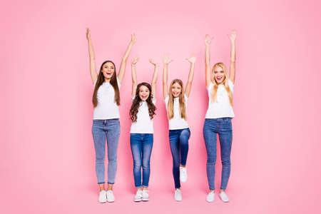 Full length photo of four different age ladies having fun wear casual outfit isolated pink background