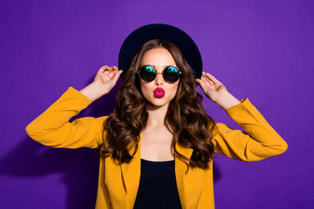 Close-up portrait of her she nice-looking lovely lovable charming sweet wavy-haired lady sending you kiss isolated over bright vivid shine violet lilac purple background