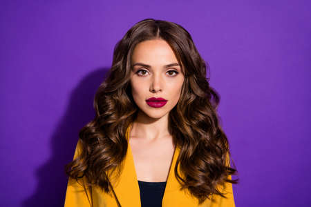 Photo of amazing intelligent business lady of pure beauty staring at camera while isolated with purple background